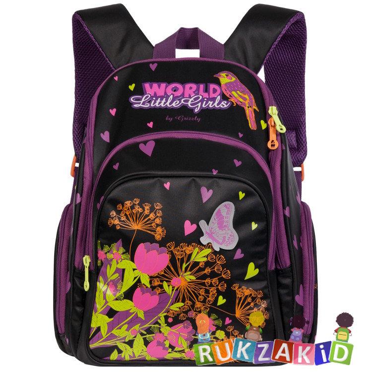 68f871f902ce Купить рюкзак школьный для девочки grizzly rg-662-1 черный в ...