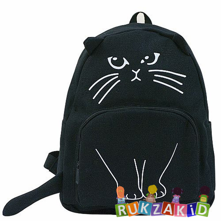 6500d9ea962a Купить молодежный рюкзак с ушками funny cat черный в интернет ...