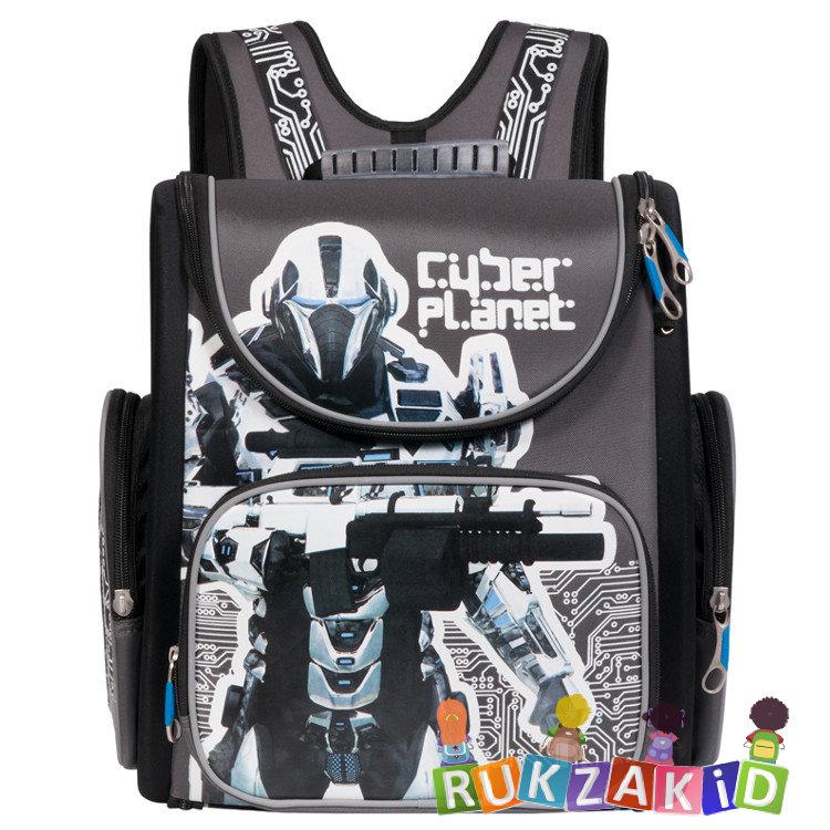 9365300f3b59 Формованный ранец для школы Grizzly RA-770-1 Cyber Planet Серо-черный