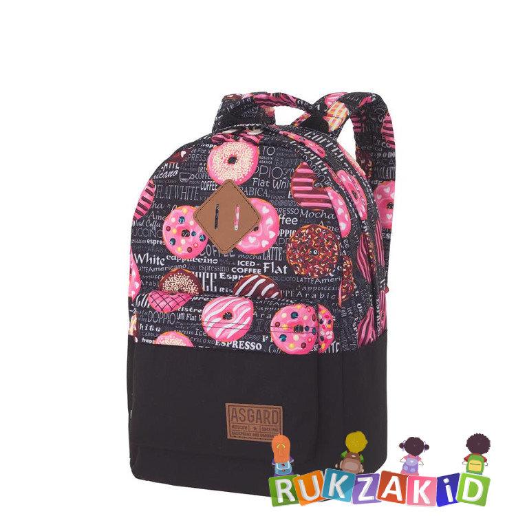 20d60f1b1c90 Молодежный рюкзак Asgard Р-5333 Дизайн Черный - Пончики Газета черный