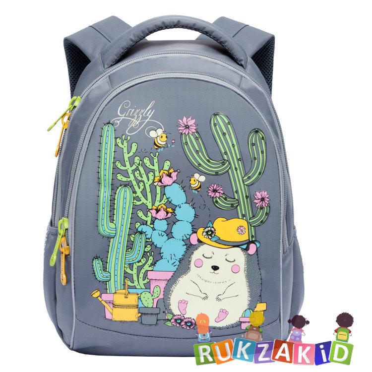 832ca1a51024 Купить рюкзак школьный с ежиком grizzly rg-762-1 серый в интернет ...