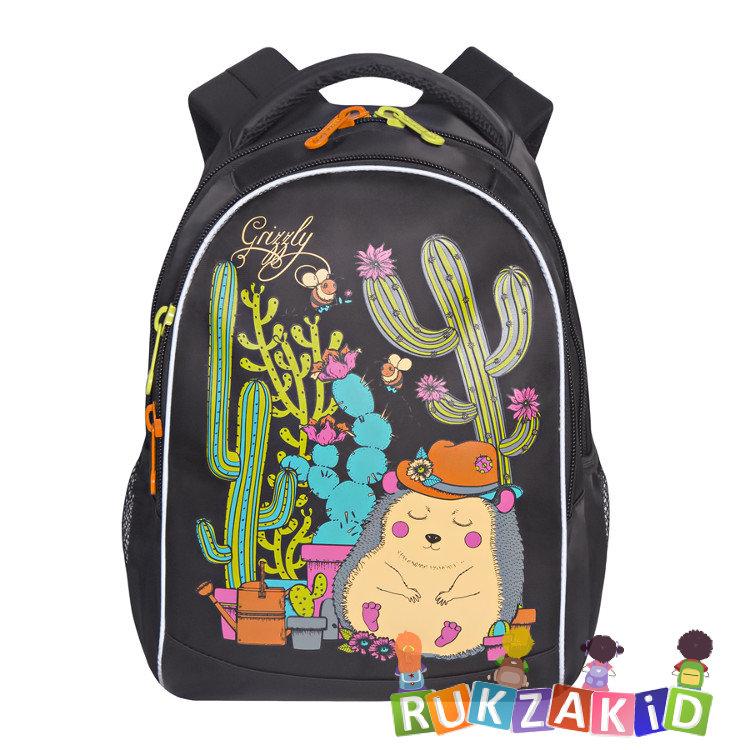 431020091228 Купить рюкзак школьный с ежиком grizzly rg-762-1 черный в интернет ...