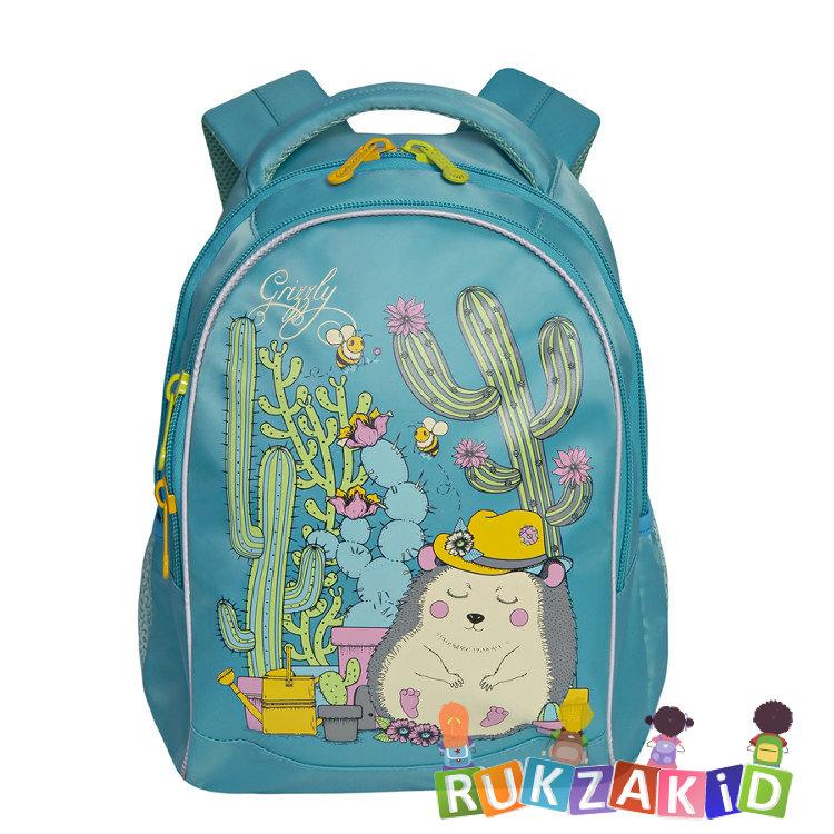 e8a944e2763a Купить рюкзак школьный с ежиком grizzly rg-762-1 бирюзовый в ...