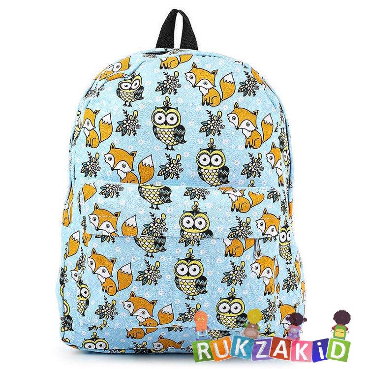 1e0991dcd31b Купить рюкзак для подростка с совами и лисами голубой fox and owl в ...
